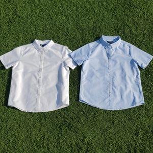 Two Lands End Boys Short Sleeve Dress Shirts Sz 14